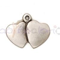 Colgante Zamak baño plata doble corazon ideal grabar 41x32 mm.