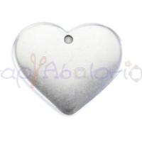Colgante corazón Zamak baño plata ideal grabar 30x25  mm, int 2 mm
