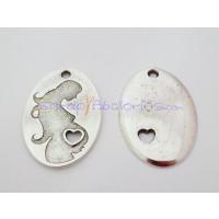Colgante Zamak baño plata mama embarazo  38x25 mm, int 2.5 mm