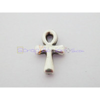 Colgante Zamak baño plata cruz feminidad pequeña 17x11 mm