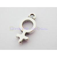 Colgante Zamak baño plata mini simbolo mujer femenino 20x10 mm