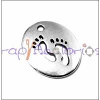 Colgante Zamak baño plata moneda pies de bebe 21x18 mm