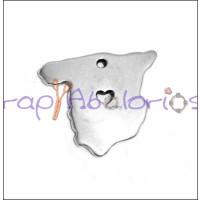 Colgante Zamak baño plata silueta españa SPAIN 23x20 mm