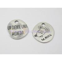 Colgante Zamak baño plata moneda ratoncito Perez 22x20 mm