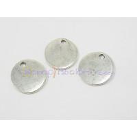 Colgante Zamak baño plata moneda pequeña ideal grabar 16x15 mm