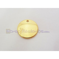 Colgante ZAMAK  dorado chapa lisa ideal para grabar 20  mm