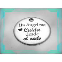 Colgante Zamak baño plata chapa Un angel me cuida...20 mm(432)