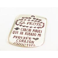 Colgante Zamak baño plata  Profe + chachi piruli   (761)