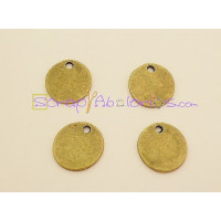Colgante ZAMAK  bronce moneda lisa 15 mm ( ideal para grabar)