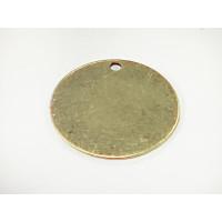 Colgante Zamak baño bronce calidad moneda lisa grabar 34 mm.