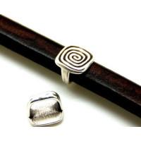 Entrepieza cuadrado espiral ZAMAK para cuero regaliz
