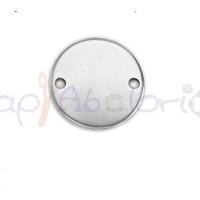 Entrepieza Zamak baño plata moneda lisa  26x26  mm. Taladro 2,5 mm (grabar)