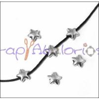 Entrepieza Zamak baño plata mini estrella 6 mm.Tal 1,4 mm (5uds)