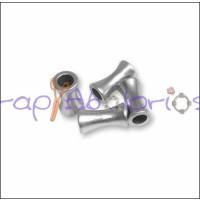 Entrepieza Zamak baño plata tubo 7x3.5 mm. Taladro 1.8 mm