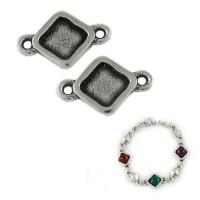 Entrepieza zamak baño plata conector rombo 22x11 mm para cristal de 8x8mm, int 2 mm