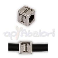 Entrepieza Zamak Baño plata Cubo Letra T 7x7 mm. Taladro 4 mm