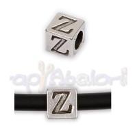 Entrepieza Zamak Baño plata Cubo Letra Z 7x7 mm. Taladro 4 mm