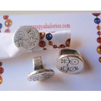 Pasador Zamak moneda  niños de la mano 15  mm para cuero regaliz