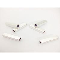 Entrepieza  Zamak baño plata tubo cuadrado grabar 20x3,7 mm Taladro 3 mm