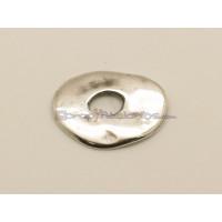 Entrepieza  ZAMAK baño plata donut plano 21 mm. Agujero 6 mm