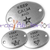 Entrepieza Zamak placa conectora  KEEP CALM AND ♥ 29x20  m
