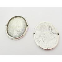 Entrepieza Zamak baño de plata cabujon conector ovalado 49x36 mm