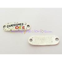 Entrepieza Zamak conector baño plata CAMPEONES  35x12 mm.