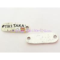 Entrepieza Zamak conector baño plata TIKI TAKA 35x12 mm.
