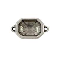 Conector Zamak baño plata cristal octogonal 24x18 mm, int 2 mm