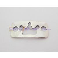 Entrepieza Zamak baño plata placa conectora corona 33x16 mm