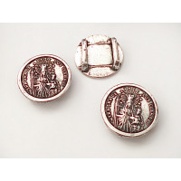 Entrepieza Zamak baño plata moneda Virgen de los Clarines 20 mm