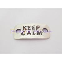 Entrepieza Zamak baño plata placa conectora KEEP CALM 33X16 mm