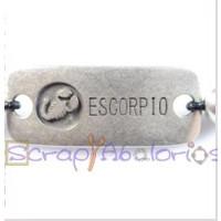 Entrepieza Zamak baño plata 36x19 mm- Horoscopo- Escorpio