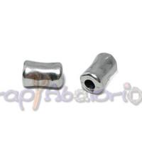 Entrepìeza zamak baño plata tubo pequeño 11x7 mm.Taladro 3 mm
