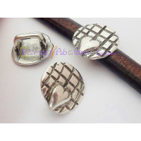 Entrepìeza zamak baño plata corazon rejilla 21 mm para regaliz