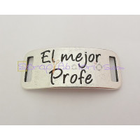 Entrepieza zamak baño plata placa EL MEJOR PROFE 38X16 mm