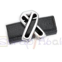 Entrepieza zamak baño plata lazo solidario para regaliz 28x13 mm