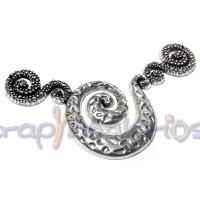 Entrepieza Zamak baño plata para collar espiral 100x42 mm.