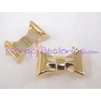 Entrepieza ZAMAK dorado lazo 24x9 mm para cuero plano 10 mm