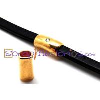 Pasador  ZAMAK  dorado con strass 22x13x10 mm para cuero regaliz