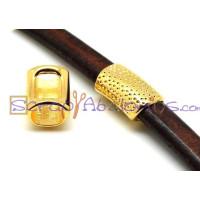 Pasador tubo Zamak dorado picoteado 23x14 mm para regaliz