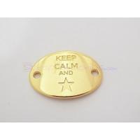 Entrepieza Zamak DORADO placa conectora  KEEP CALM AND