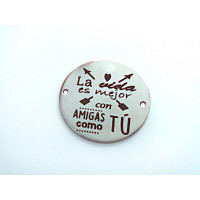 Entrepieza ACERO INOX La vida es mejor con.. 20mm (AE002)