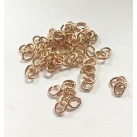Anilla abierta Zamak oro rosa 6x4 mm. Grosor 1 mm. (10 uds)