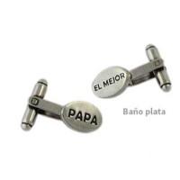 Gemelos zamak baño de plata Papa  El mejor - 1 par