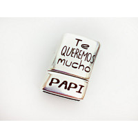 Cierre ZAMAK baño plata grabado Te queremos mucho papa (Z10-4000X)