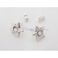 Pendiente Zamak baño plata Estrella con STRASS 12 mm - 1 par