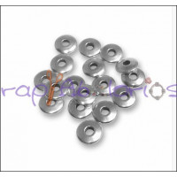 Donut Zamak baño plata 6x1.5 mm. Taladro 2 mm - 5 uds