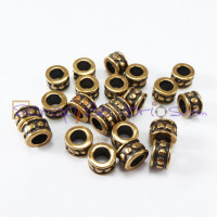Rondel puntitos Zamak bronce, 6x4 mm, int 3.3 mm - 5 uds