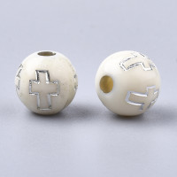 Abalorio bola blanca cruz comunion  8 mm (50 uds)